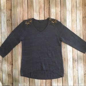 Cable & Gauge Embellished Gray Sweater M